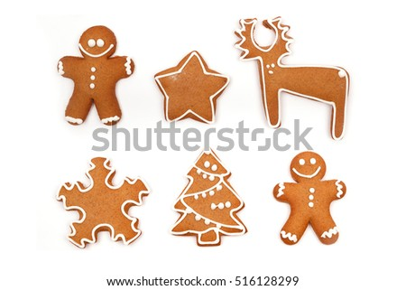 Christmas Ginger and Honey cookies on isolated white background