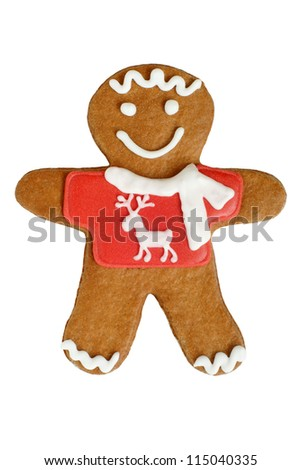 Christmas gingerbread cookie isolated on a white background