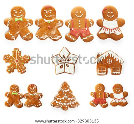 Christmas gingerbread cookie set isolated on white - stock photo