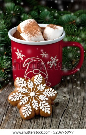 Christmas Gingerbread cookies and  hot drink  with  marshmallows