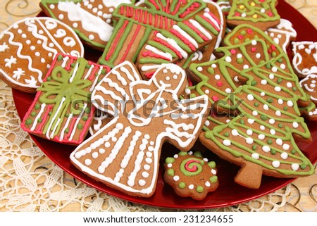 Christmas gingerbread cookies decorated. Cute angel - stock photo