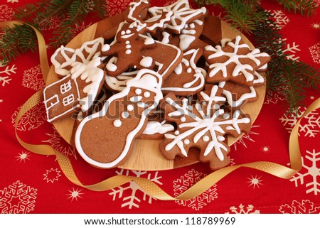 Christmas gingerbread cookies decorated with icing