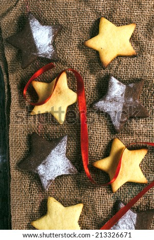 Christmas gingerbread cookies from above on the wooden table - stock photo