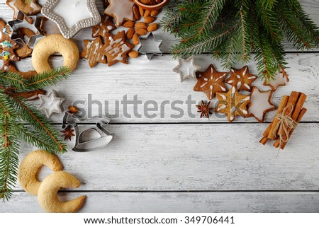 christmas gingerbread cookies on boards, food - stock photo