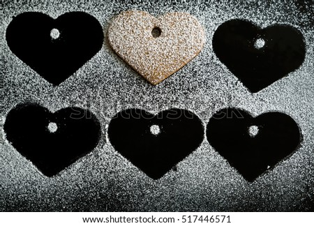 Christmas gingerbread hearts with  sugar