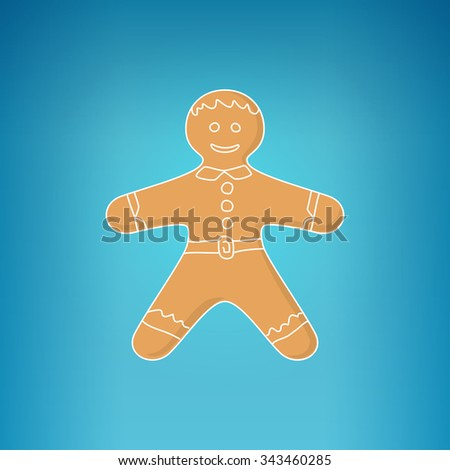 Christmas Gingerbread Man Decorated White Icing and Cream, Cookie Gingerbread Man on a Blue Background , Happy New Year Festive Biscuit Man,  Christmas Decoration - stock photo
