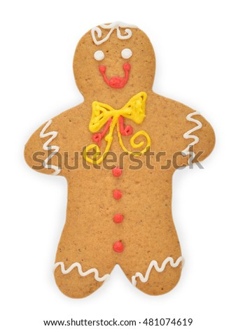 Christmas gingerbread man isolated on white background