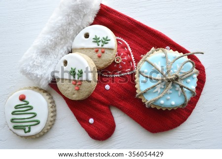 Christmas gingerbread on a wooden table.dried oranges, christmas decoration - stock photo