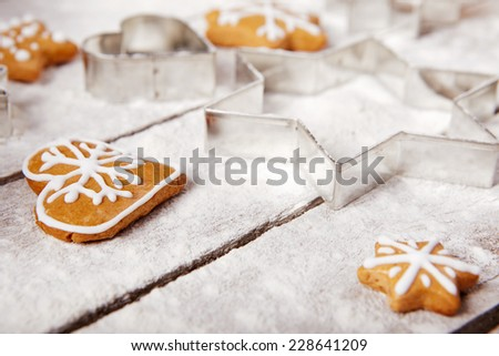 Christmas gingerbread on the table, top view - stock photo