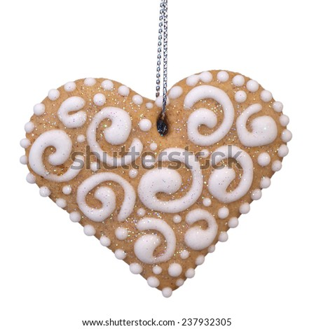 christmas gingerbread on white background - stock photo