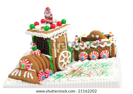 christmas gingerbread train on white background