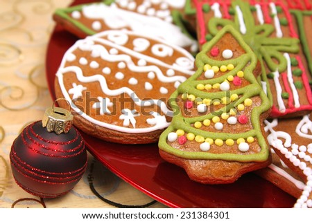 Christmas gingerbread tree cookie - stock photo