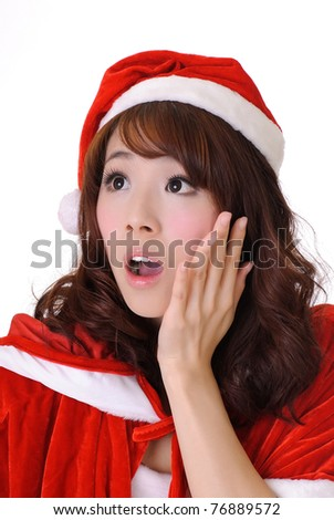 Christmas girl, half length closeup portrait on white background. - stock photo