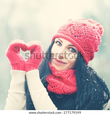 Christmas Girl. Happy Woman with Snow. Winter and Love - stock photo