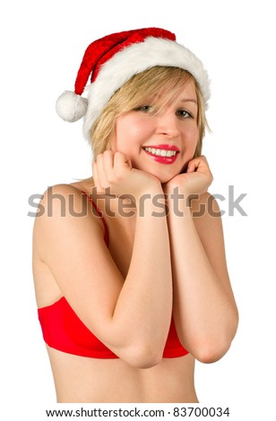 Christmas girl in red santa hat, isolated on white background