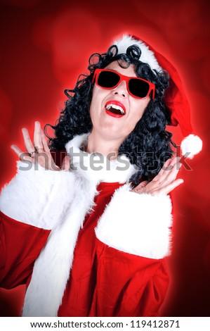 Christmas girl isolated on white background - stock photo