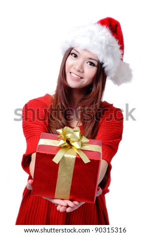 Christmas Girl Smile Holding Gift Box, Model is a cute Asian beauty,  isolated on white background - stock photo