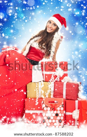 Christmas girl with gifts, isolated on white background