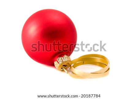 Christmas glass ball decoration on white background