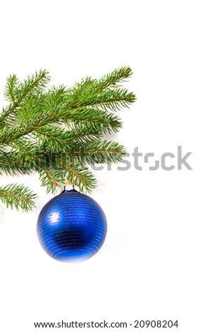 Christmas glass ball hanging on the tree