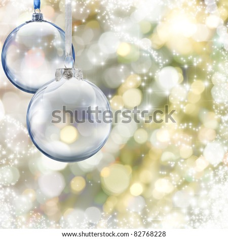 Christmas glass ball on glowing background - stock photo