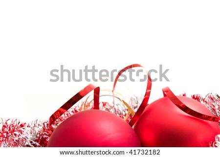 christmas glass balls and tinsel - stock photo