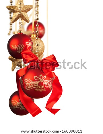 Christmas glass balls isolated on white background - stock photo