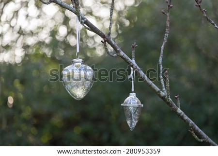 Christmas glass baubles hanging on the branch of a tree outside in a garden. - stock photo