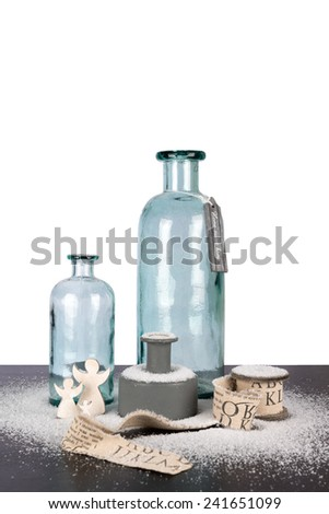 Christmas glass decoration indoor with snow - stock photo