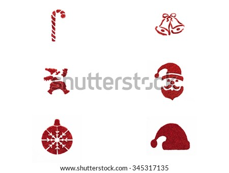 Christmas glitter decoration collage - stock photo
