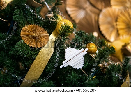 Christmas gold and white decorations