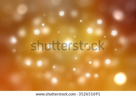 Christmas gold background. The winter background, falling snowflakes - stock photo