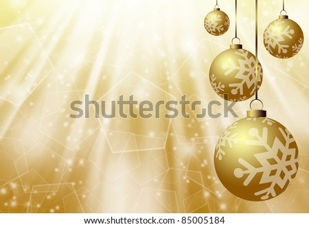 christmas gold background with balls
