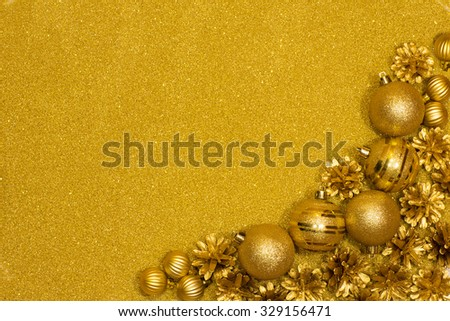 Christmas gold background with gold christmas balls - stock photo