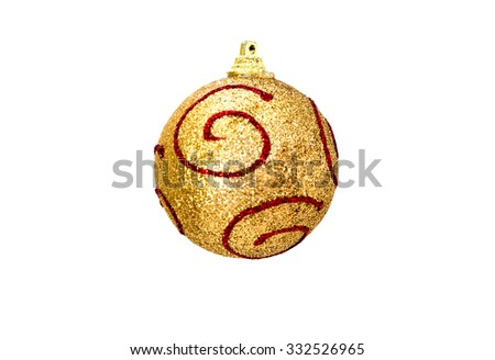 Christmas gold ball with red isolated on white background. Selective focus on the top - stock photo