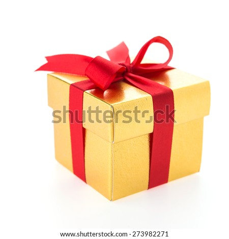 Christmas gold gift box isolated on white background