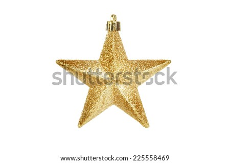 Christmas gold glitter star tree ornament isolated against white - stock photo