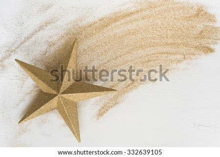 christmas gold star with glitter - stock photo