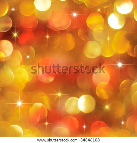 Christmas golden and red lights background with little stars - stock photo