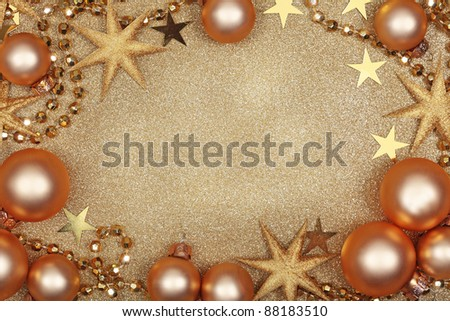 Christmas golden background with baubles - stock photo