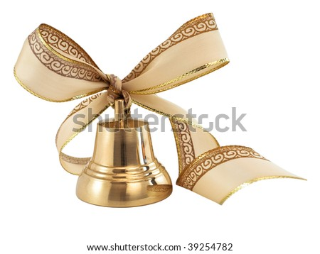 Christmas golden bell with a ribbon bow isolated on white - stock photo
