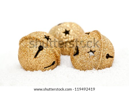 Christmas golden bells and stars - stock photo