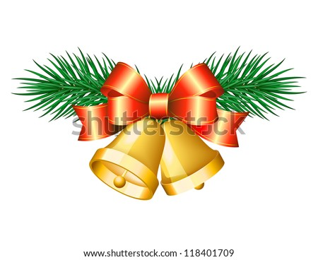 Christmas golden bells with red bows. - stock photo