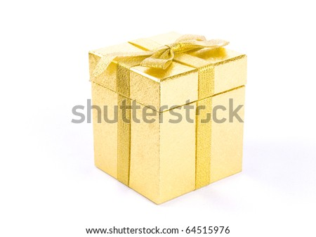 Christmas golden  gift-box on white background, with golden ribbon - stock photo
