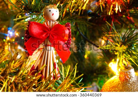 Christmas golden lights and Christmasdecoration on Christmas tree