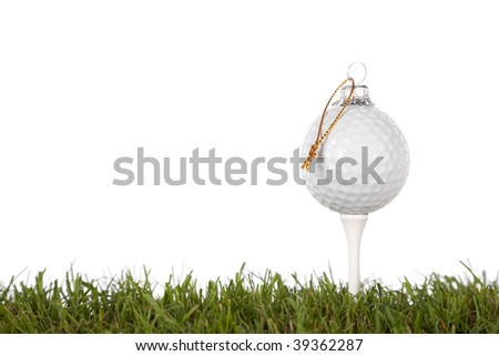 christmas golf ball isolated on a white background .with plenty of copy-space - stock photo