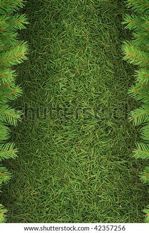 Christmas green framework isolated on green background - stock photo