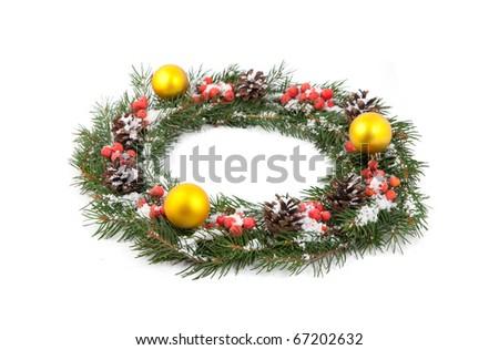 Christmas green framework isolated on white background - stock photo