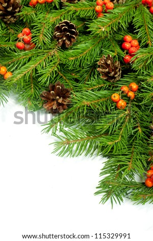 Christmas green  framework with cones and holly berry  isolated on white background - stock photo