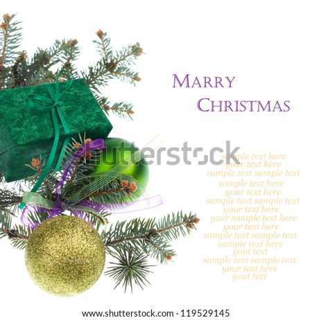 Christmas green gift and balls isolated on white background - stock photo